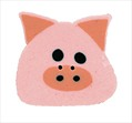 """Large Piggy 1222L handmade clay button .75"""" JABC Just Another Button Co"""