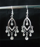 Beautiful Crystal Silver Plated Chandelier Earr... - $6.00