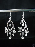 Beautiful Crystal Silver Plated Chandelier Earrings