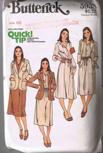 Butterick 5933 - Misses' Shirt, Jacket, & Skirt - Size 10 - UNCUT