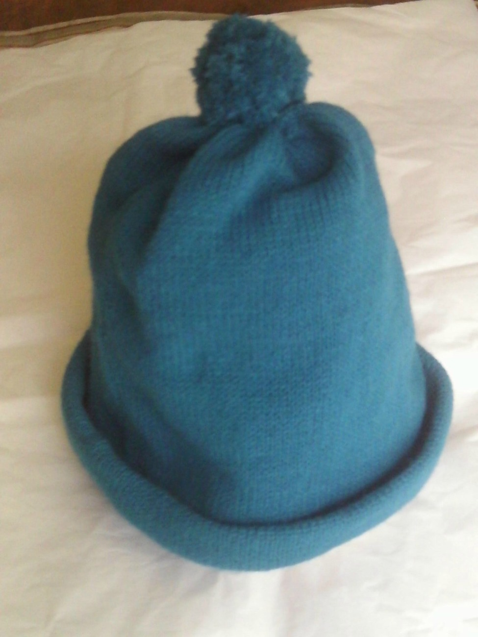 Childs Machine Knitted Teal  Hat Sizes 8 and up