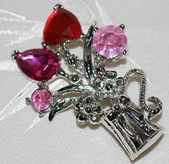 Pink Crystal & Silver Brooch