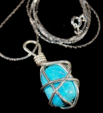 Wire wrapped natural turquoise silver24 close