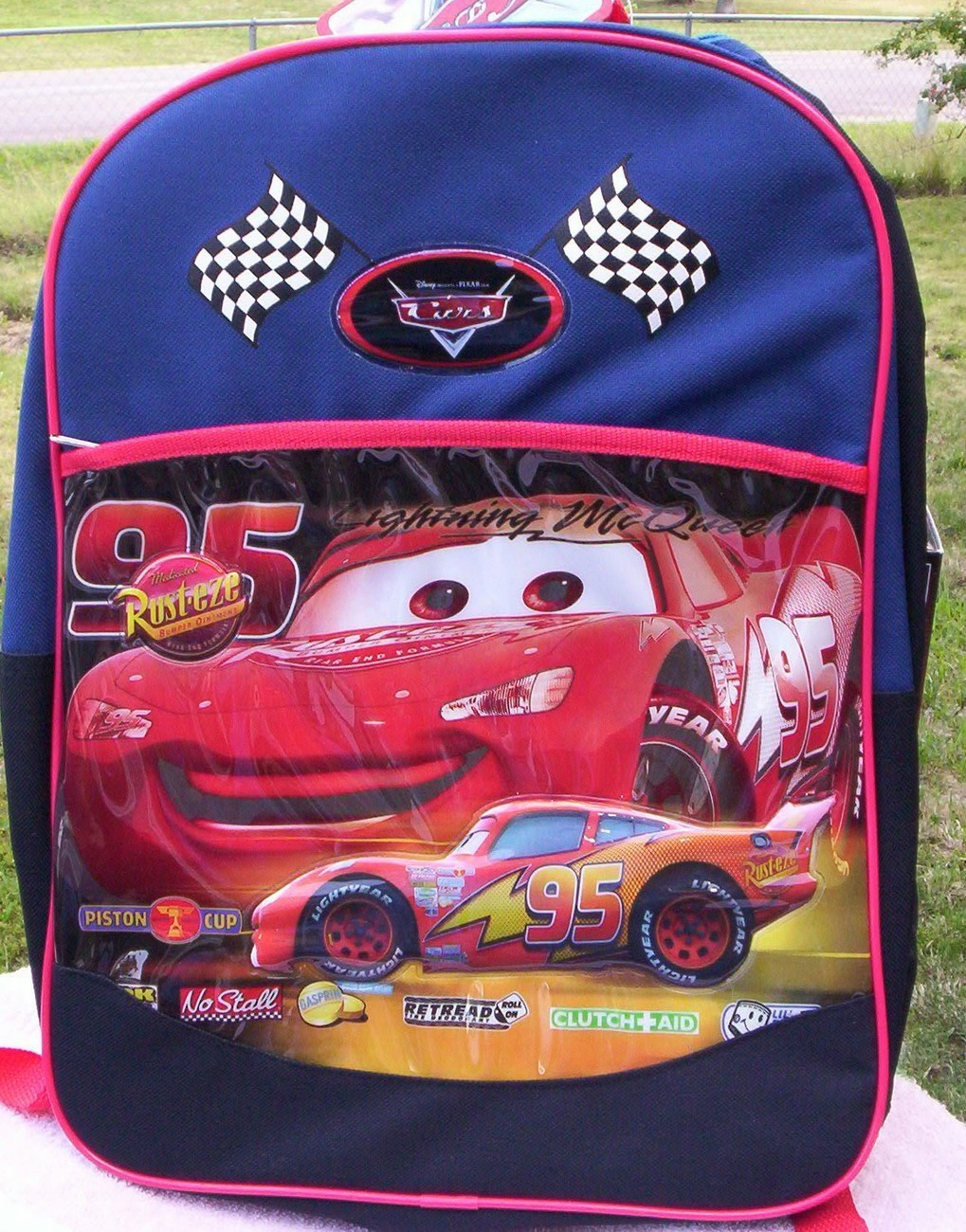 CARS Pixar Disney Lightning McQueen Backpack NEW Canvas Full Size Book Bag Generic