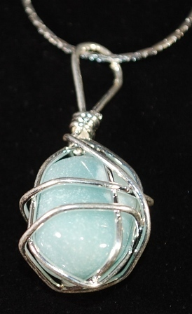 S925 Wire Wrapped Sky Blue Turquoise Chunk Pendant Necklace
