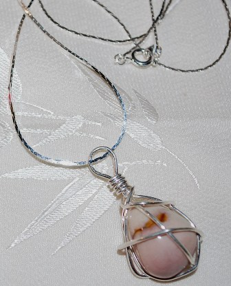 Wire wrapped pink natural silver24 whole