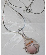 S925 Silver Wire Wrapped Light Pink Opal Chunk Pendant  - $19.95