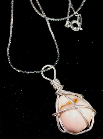 S925 Silver Wire Wrapped Light Pink Opal Chunk Pendant