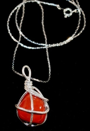 Wire wrapped red orange natural silver24 whole