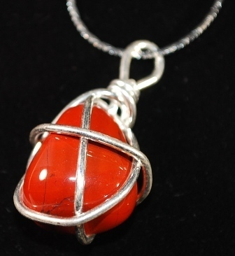 S925 Silver Wire Wrapped Red Jasper Chunk Pendant