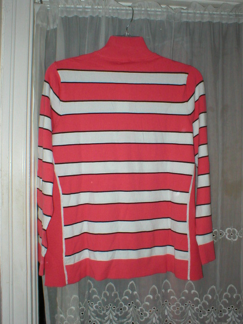 NWT 1X CHARTER CLUB STRIPED ZIP NECK SWEATER CORAL SUPIMA COTTON BLEND