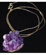 Gold plated Uruguayan Amethyst Cluster Pendant Necklace - $15.95