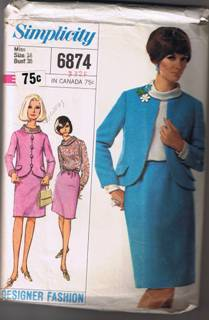 Simplicity 6874 - Designer Fashion Misses' Suit and Blouse - Size 18 - UNCUT