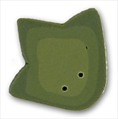 """Large Frog Geet 1230L handmade clay button .75""""wide JABC Just Another Button"""