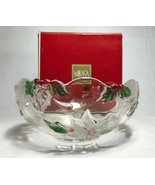 Mikasa Holiday Bloom Crystal Bowl Poinsettia Frosted Christmas Serving Dish - $14.84