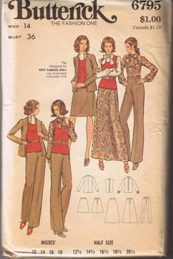 Butterick 6795 - Misses' Jacket, Pants, Skirt, Top & Blouse Size 14 UNCUT