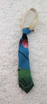 Fun Vintage Doll Necktie Tie Hawaiian Floral Blue & Green  2  Inches T8 - $9.41