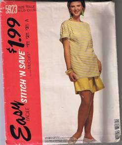 McCall's Stitch 'n Save 5923 - Misses' T-Shirt & Shorts - Size L, XL (18-24)