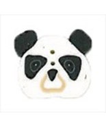 "Small Panda Face 1232s handmade clay button .5"" JABC Just Another Button Co - $2.00"