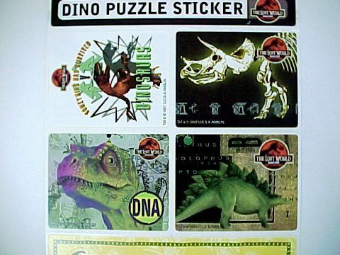 1997 Jurassic Park The Lost World Stickers-General Mills Cereal Premium