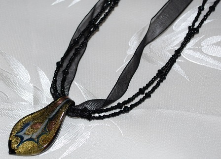 Black & Gold Glass Foil Beaded & Ribbon Choker