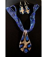 Silver Royal Blue Spoon Choker & Earring Set - $10.95