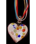 Large Shiny Pink Heart & Suede Necklace - $9.95