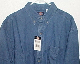 Mens NWT Dickies Denim Blue Long Sleeve Shirt Size 17 and half