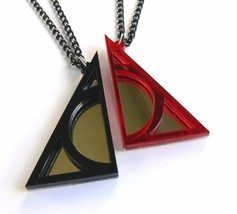 Harry Potter Deathly Hallows best friends necklaces Laser cut black red plastic - $14.86