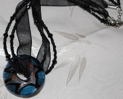 Blacksilverblue glass donut ribbonbead choker whole
