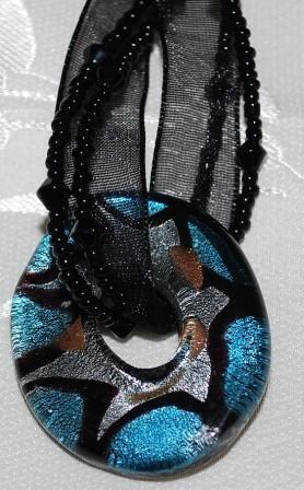Silver, Blue & Black Donut Pendant Choker