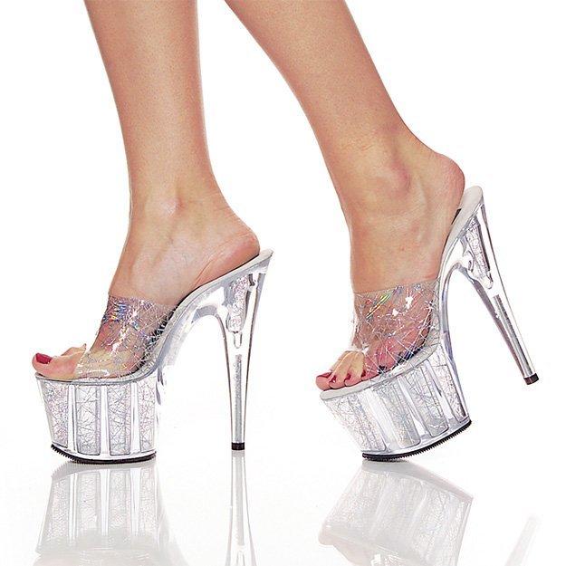 Pleaser Womens SZ 10 Stiletto Shoes Hologram Dress Slide Sandal Heels Platform