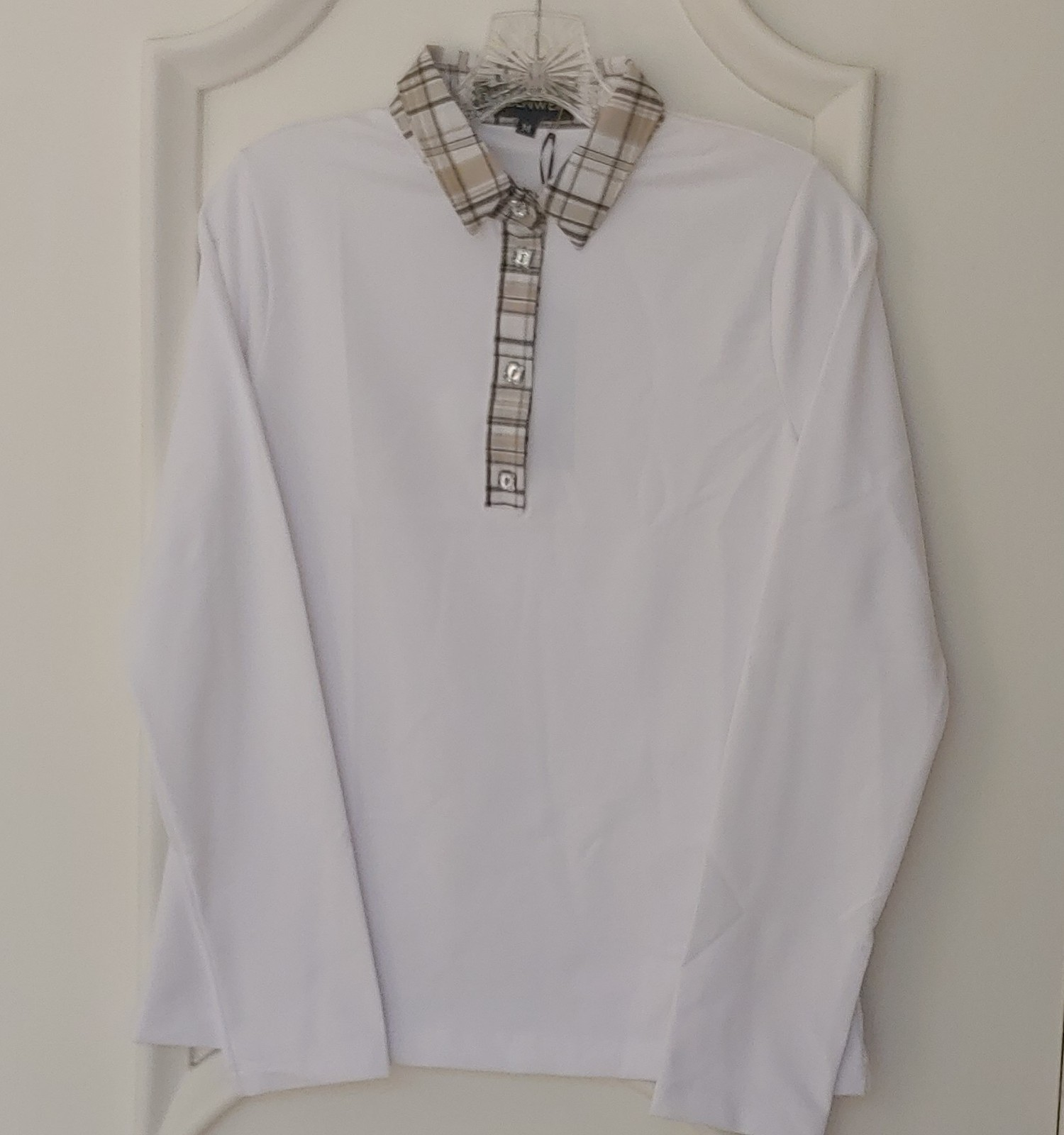 Stylish Women's Golf & Casual White Long Sleeve Collar Top, Swarovski Buttons