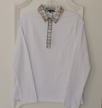 Stylish Women's Golf & Casual White Long Sleeve Collar Top, Swarovski Buttons  image 1