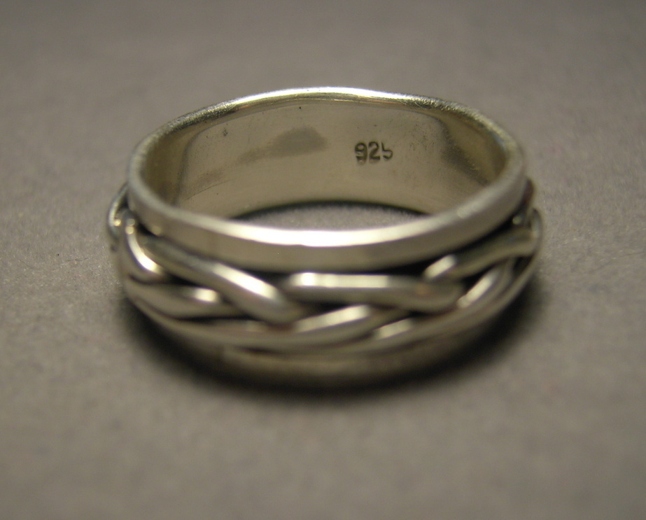 Sterling Silver Spinner Ring Braided Design Movable Size 9  925 Silver Unisex