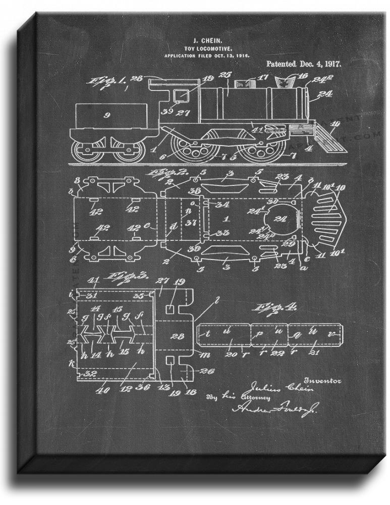 Primary image for Toy Locomotive Patent Print Chalkboard on Canvas