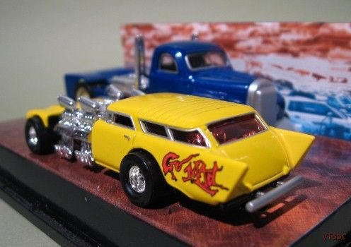 ~ Hot Wheels Baur's Beasts - 1957 Chevy Nomad & Truck Dragster Set