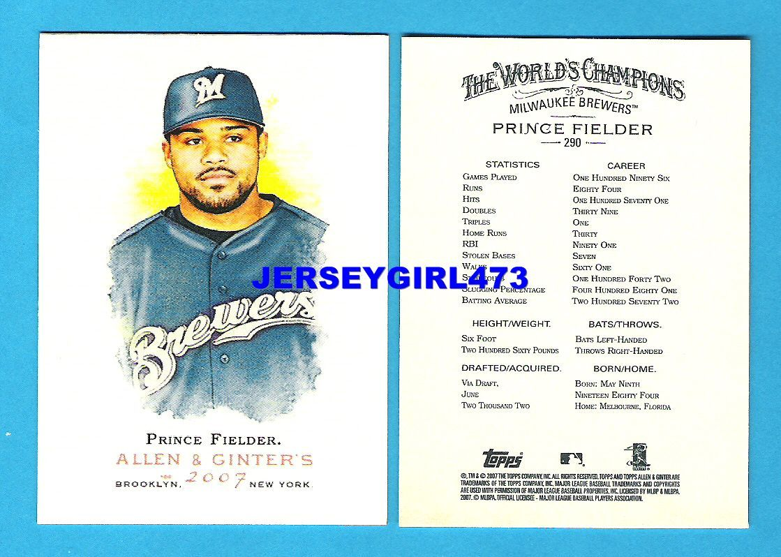 Prince Fielder 2007 Topps Allen & Ginter's Milwaukee Brewers Baseball Card #290