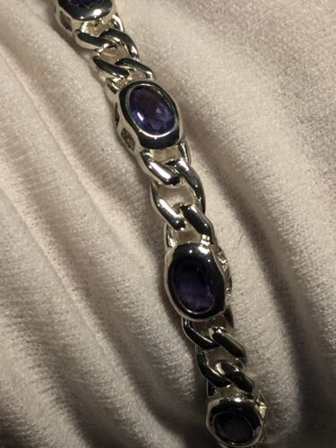 Vintage Genuine Deep Blue Iolite 925 Sterling Silver Deco Tennis Bracelet