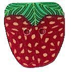 "Medium Strawberry 2203m handmade clay button  .50"" JABC Just Another Button Co"