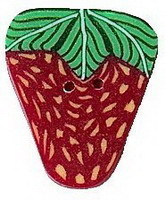 "Large Strawberry 2203L handmade clay button  .62"" JABC Just Another Button Co"