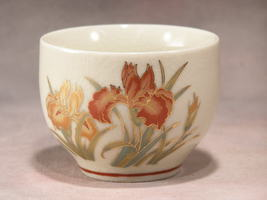 SAKE CUP - RED & ORANGE FLOWERS OUTLINED IN GOLD - MADE IN JAPAN - SKU#1747 image 1