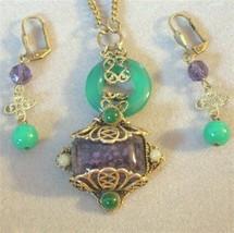OOAK Vintage Renaissance Revival Art Glass Necklace Earring Set Art Glas... - $150.00