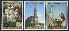 1967 Apparitions of Fatima Set of 3 Vatican Postage Stamps Catalog 455-57 MNH