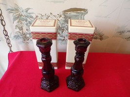 """Vintage AVON Cape Cod Ruby red candleholders 8 3/4"""" - $14.85"""