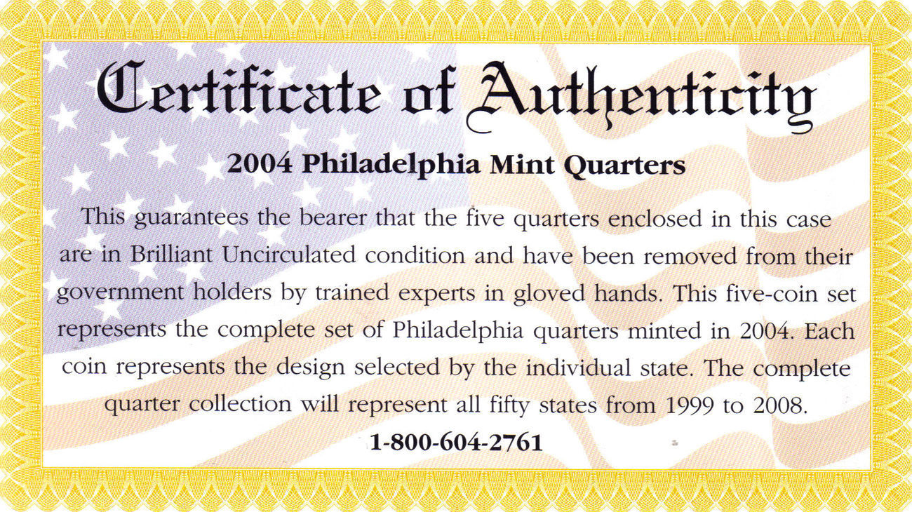 2004 PHILADELPHIA  MINT EDITION STATE QUARTER COLLECTION