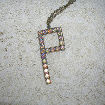 Sweet Vintage Prong Set Rhinestone Initial Necklace Letter P - $35.00