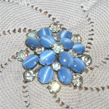 5 Layer Vintage Juliana Rhinestone Brooch Blue Moonstone Art Glass Brooc... - $100.00