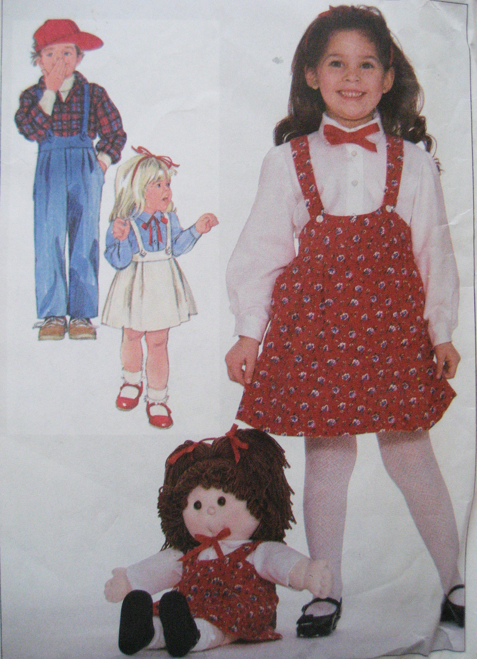Simplicity 7632 Vintage 80s  Girl 3 to 5 with Doll Jumper