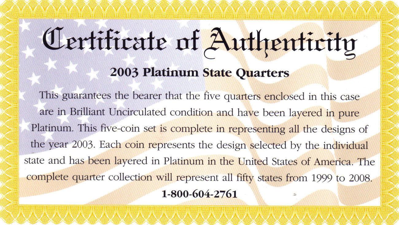 2003 PLATINUM EDITION STATE QUARTER COLLECTION